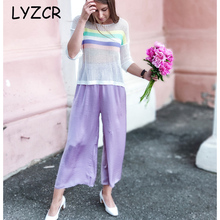 Lyzcr Summer Loose Silk Women Pants Wide Leg High Waist Stain Wide Leg Pants For Women Ankle Pants Female Elastic Waist Trousers trendy floral print elastic waist wide leg pants for women