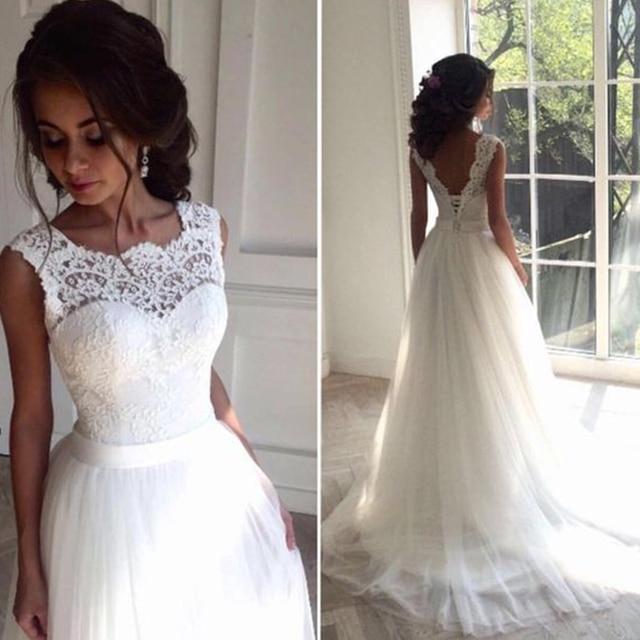 9735 32 De Descuentobata De Mariage Encaje Vestido De Novia 2018 Cuello Redondo Transparente Tul Playa Vestidos De Novia Verano Vestido De Novia