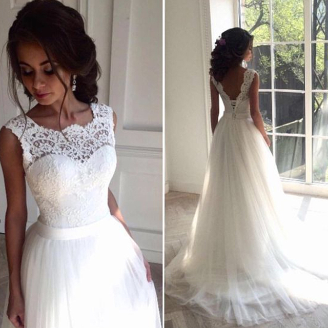 85da9c0936 Robe de mariage Lace Wedding dress 2018 O-Neck Sheer Tulle Beach Wedding  Dresses Summer Bridal Gown Bohemian Wedding dresses