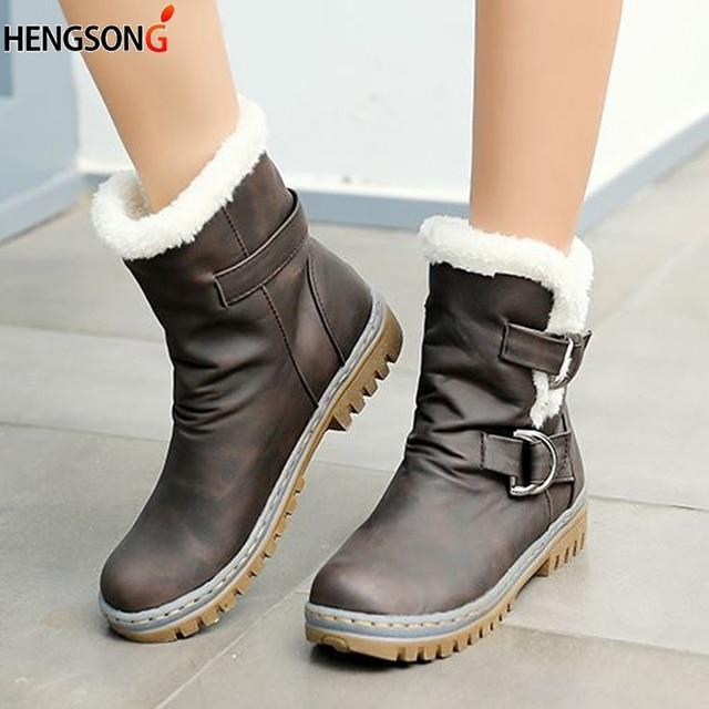 패션 겨울 부츠 여성 스노우 부츠 플랫 힐 겨울 신발 따뜻한 모피 부팅 중반 송아지 봄 가을 여성 신발 플러스 크기 34-43