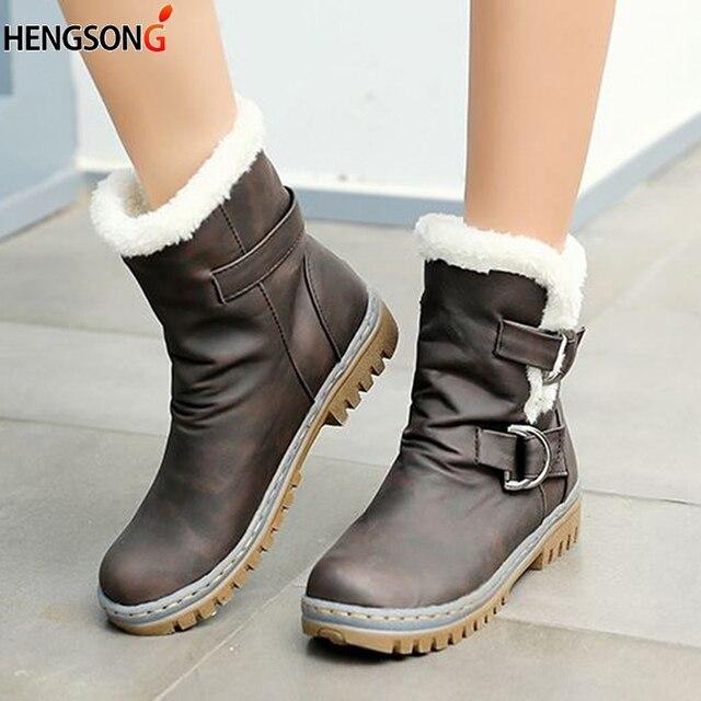 Thời trang Mùa Đông Phụ Nữ Khởi Động Tuyết Khởi Động Phẳng Gót Giày Dép Mùa Đông Ấm Lông Khởi Động Giữa Bắp Chân Mùa Xuân Mùa Thu của Phụ Nữ giày Cộng Với Kích Thước 34-43