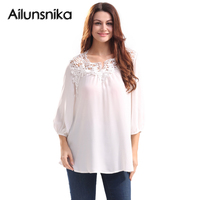 Ailunsnika Lace Chiffon Shirts Women 3 4 Sleeve V Neck White Loose Fit Hollow Out Pullover