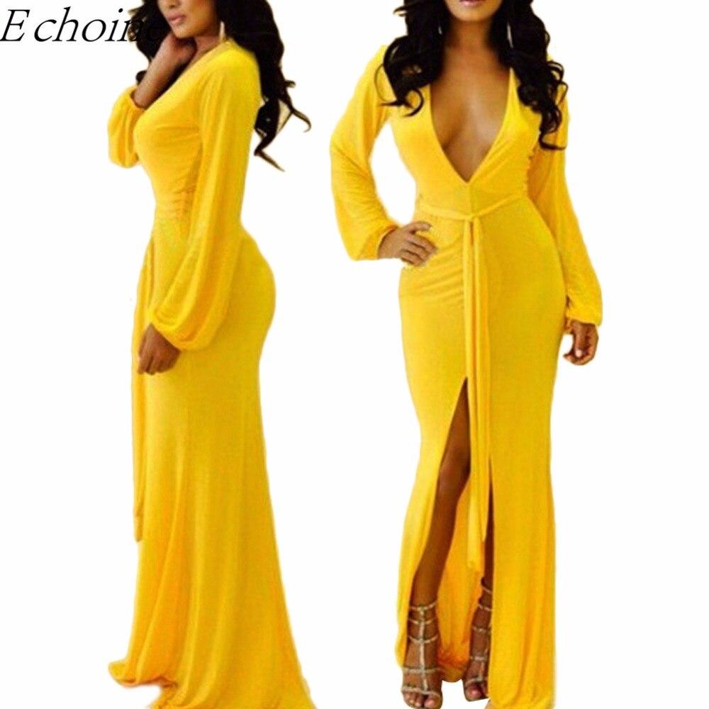 Black dress yellow sash - Echoine 2017 Autumn Fall Sexy Deep V Neck High Slit Maxi Dress Solid Yellow Sashes