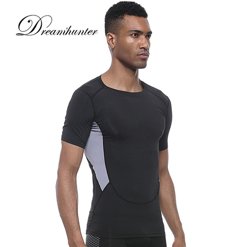 Mens T-Shirts Quick Dry Short Sleeved Patchwork Tops Tee Fitness Bodybuilding Shirt Slim Fit Exercise T-shirts Gym Sportswear