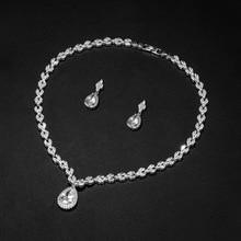 WEIMANJINGDIAN бренд Halo каплевидные и фианит огранки «маркиза» ожерелье и серьги Свадебные Ювелирные наборы для женщин Свадебные