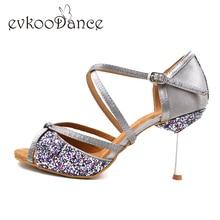 Glitter Filles Danse Chaussures femmes 8.5 cm métal talon semelle souple kaki noir gris Salsa Salle De Bal Latine Chaussures De Danse pour Dames NL002