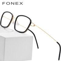 Titanium Alloy Optical Glasses Frame Men Acetate Myopia Denmark Ultralight Prescription Eyeglasses 2018 Women Screwless Eyewear