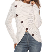 Autumn Winter New Knitted Cotton Shirts for Women Plus Size Casual Button Long Sleeve Ladies Irregular Knit Tees Blouses Female