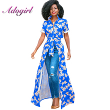 Floral Print Slim Maxi Shirt 2019 Ladylike Woman Turn-Down Collar Short Sleeve Cardigan Robe With Sashes Blouses