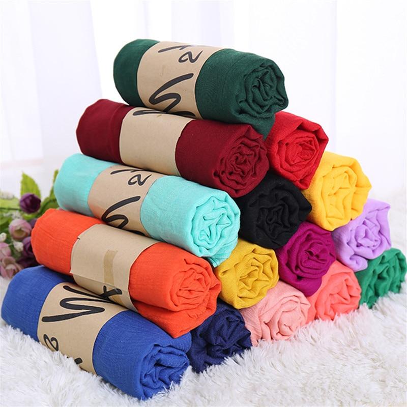 2019 Fashion Women Cotton Solid Scarf Summer Pashmina Shawls And Wraps Long Soft Female Foulard Muslim Hijab Stoles Head Scarves