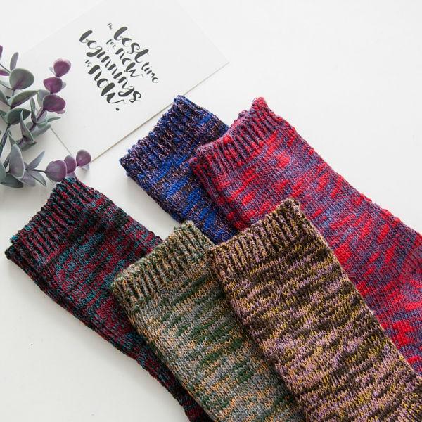 Japanese Womans Kawaii Terry Long Socks Winter Women Vintage All-match Socks National Mixed Color Sox