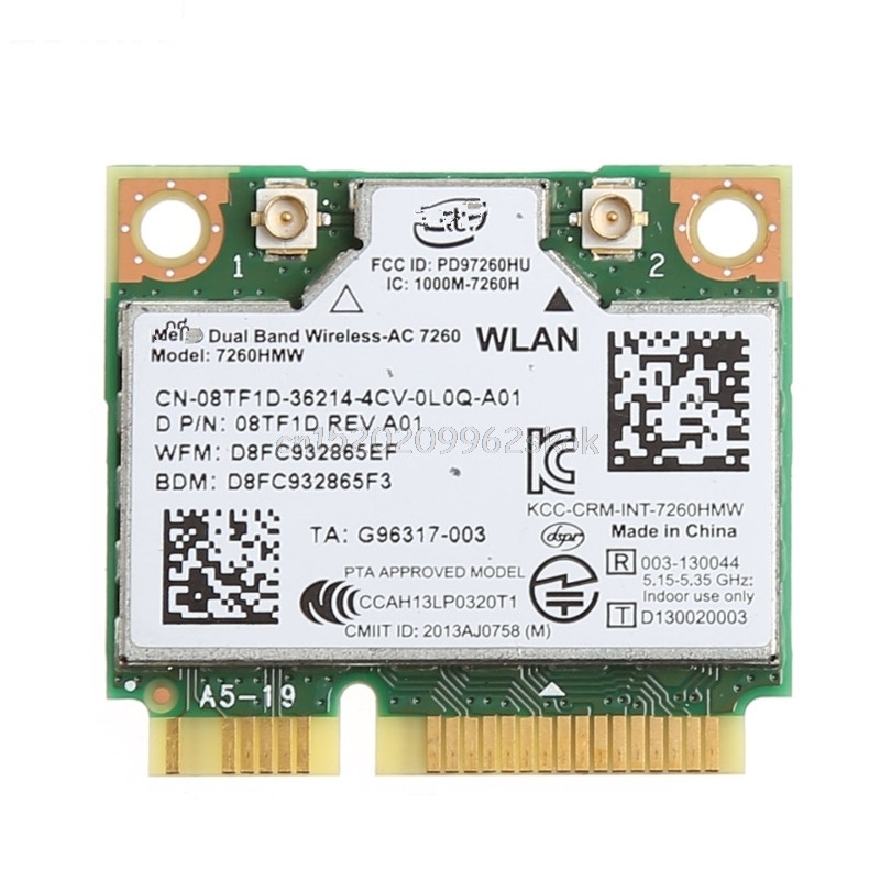 Dual Band Bluetooth 40 Wireless Mini PCI-E Card For Intel 7260 AC for DELL 7260HMW JUL12 dropshipping