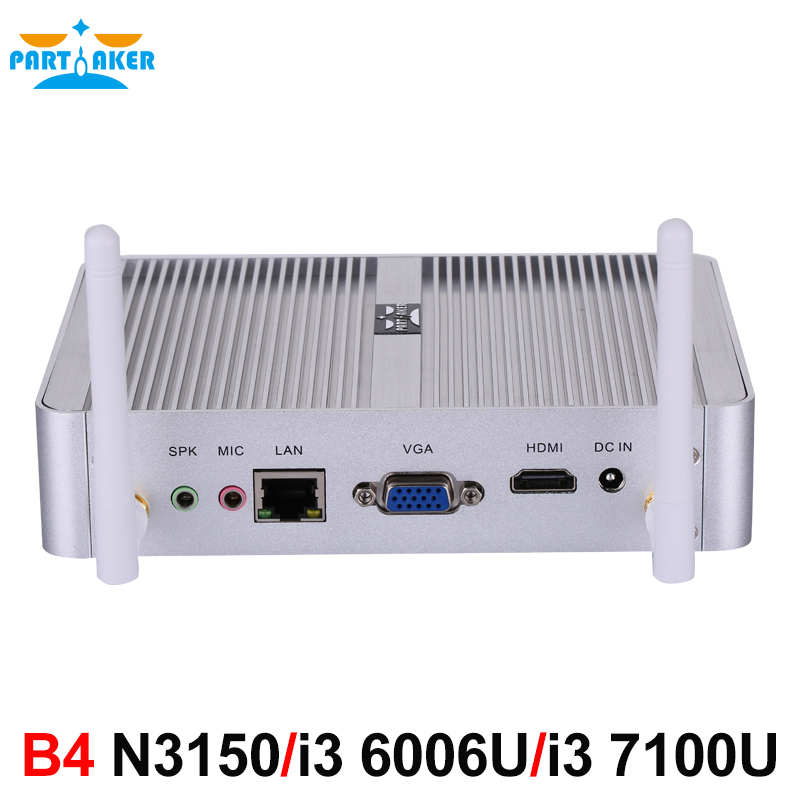 Partaker B4 Intel 14nm Quad Core N3150 Dual Core i3 6006U i3 7100U Processor HTPC Mini Pc with HDMI VGA 4K HD thin client mini itx computer intel celeron n3150 14nm quad core dual hdmi vga 1 rs232 4 usb3 0 300m wifi window 10 mini pc