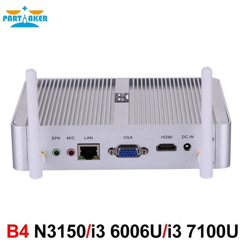 Participante B4 Intel 7100U 14nm Quad Core 6006U N3150 Dual Core i3 i3 Processador HTPC Mini Pc com HDMI VGA 4 k HD