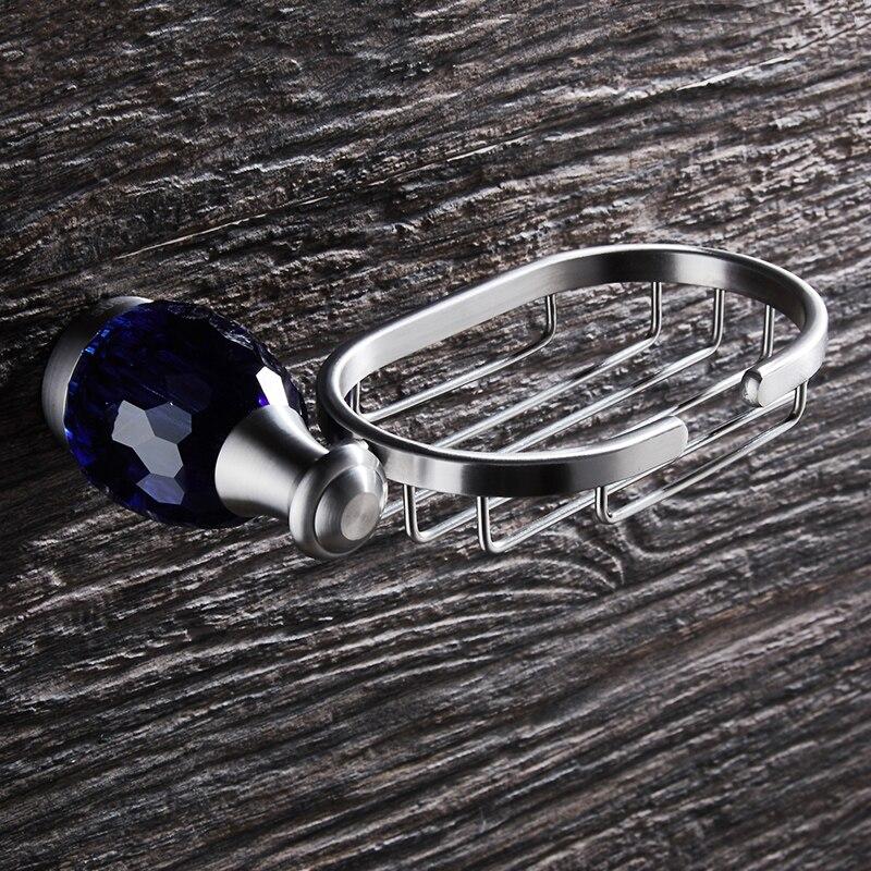 WEYUU  Soap Dish On The Wall Luxury Blue Crystal Soap Holders Basket Stainless Steel  Bathroom Accessories Brushed Nickel