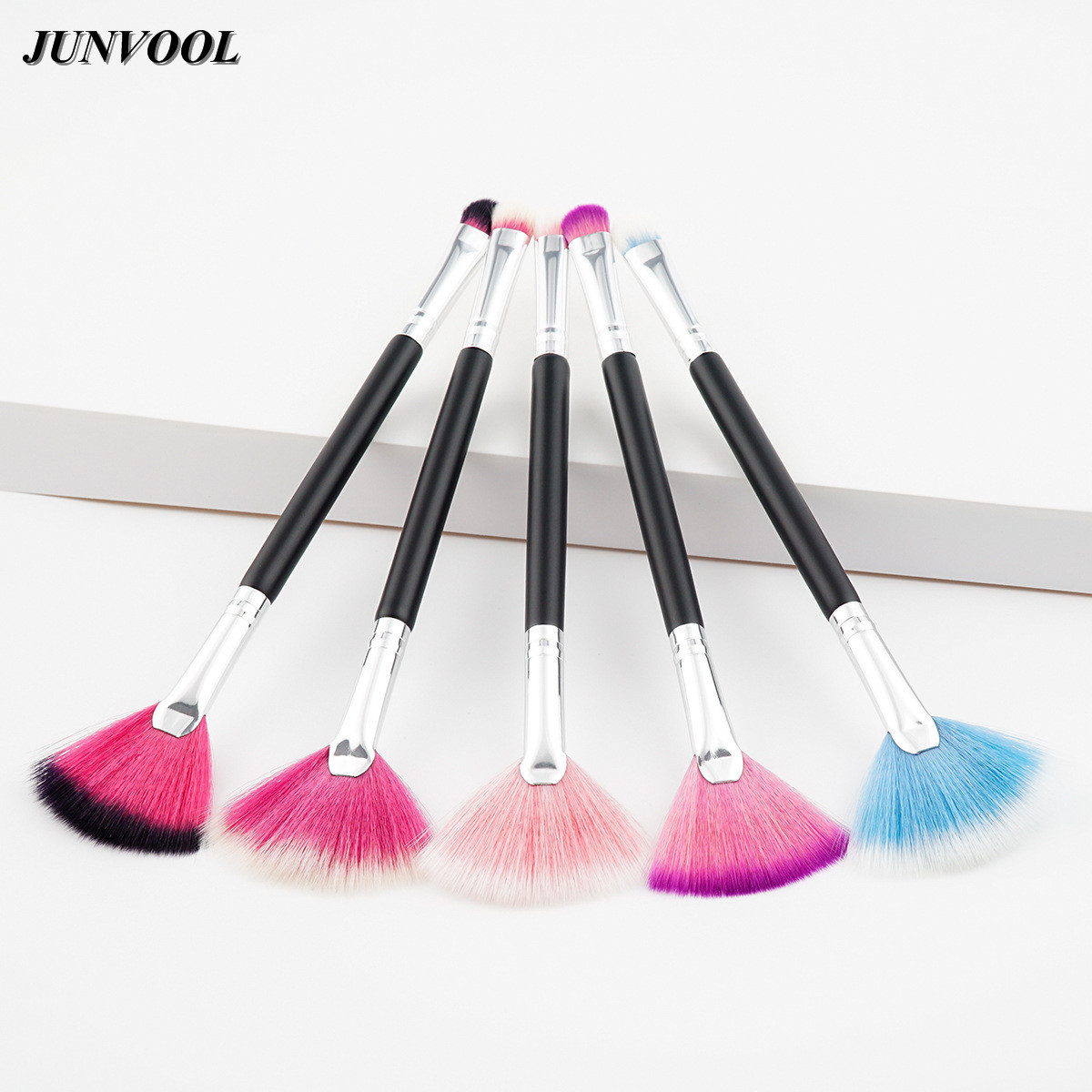 Cosmetic Small Fan Shaped Makeup Brush 5Pcs Double Ended Pro Foundation Eyeshadow Blending Highlighter Face Powder Brushes Tools slim fan shape powder concealor blending finishing highlighter highlighting makeup brush nail art brush for makeup
