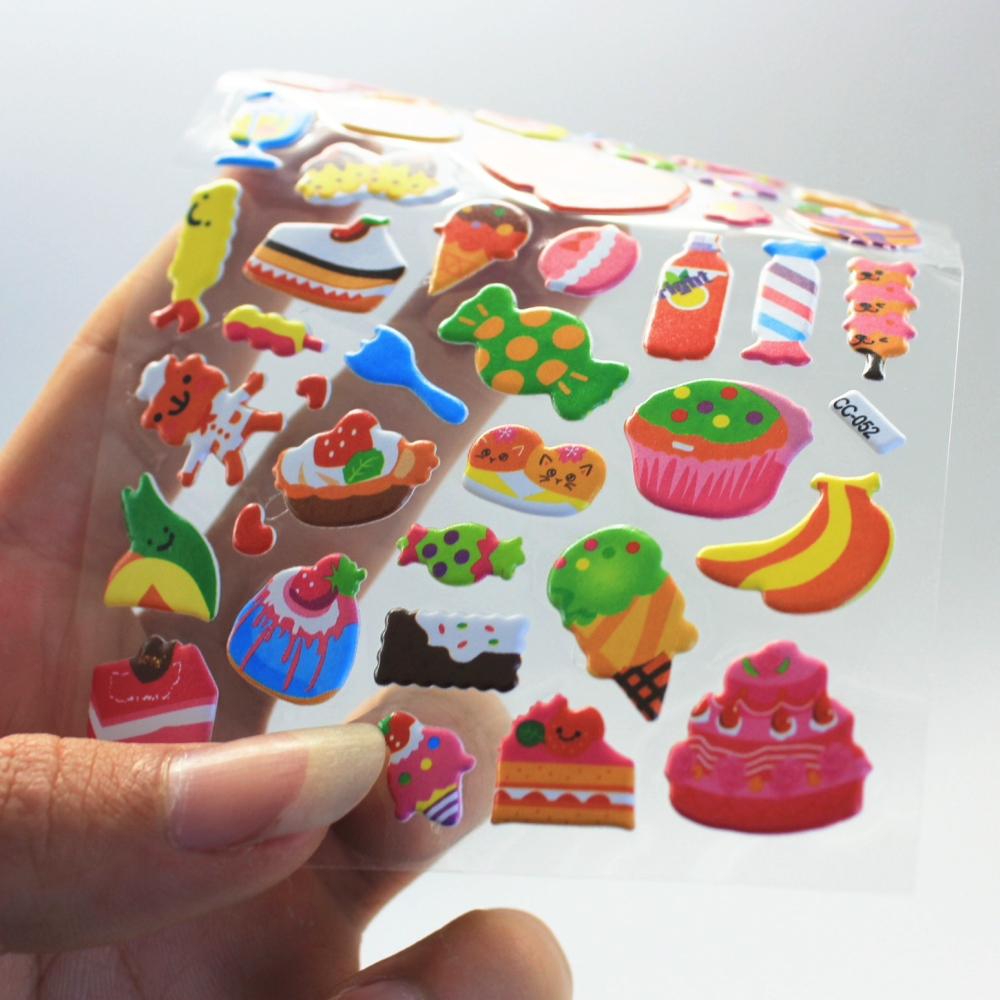1Sheet  cute candy Diary Decoration Kids bubble Stickers 3D PVC Baby Gift Children Toys