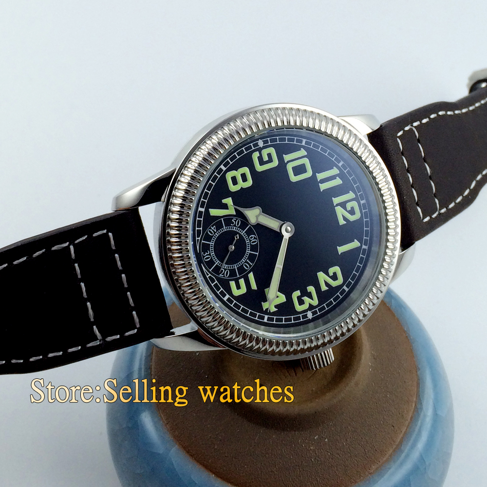 44mm Parnis luminous black dial hand winding Asian unitas 6498 men's Watch 50pcs lot 5lc4 to252
