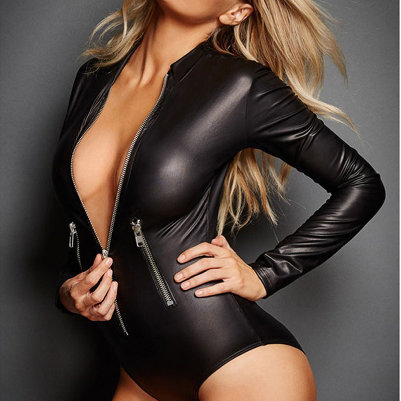 FLYMALL Hot Lady Sexy Faux Leather Latex Zentai Catsuit Smooth Wetlook Jumpsuit Front Zipper Elastic Black PU Bodysuits Clubwear