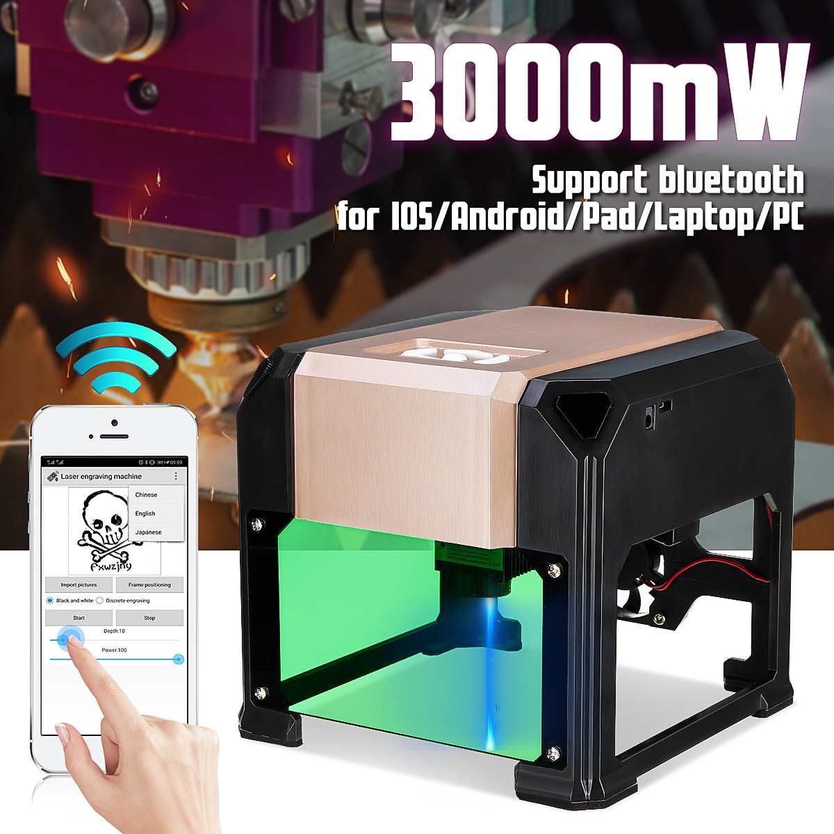 bluetooth Control 3000mW Professional DIY Desktop Mini CNC Laser Engraver Cutter Engraving Wood Cutting Machine Router 110-220V