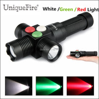 Free Shipping Newest UniqueFire MINI RGW002 Aspherical Lens Zoomable LED Flashlight White / Red  Green  Emitting Color For Camp
