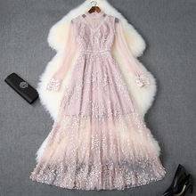 Long Dress 2019 Ladies Spring Autumn Stand Collar Perspective Long Sleeve Solid Embroidered Beading Slim Empire Waist Mesh Dress