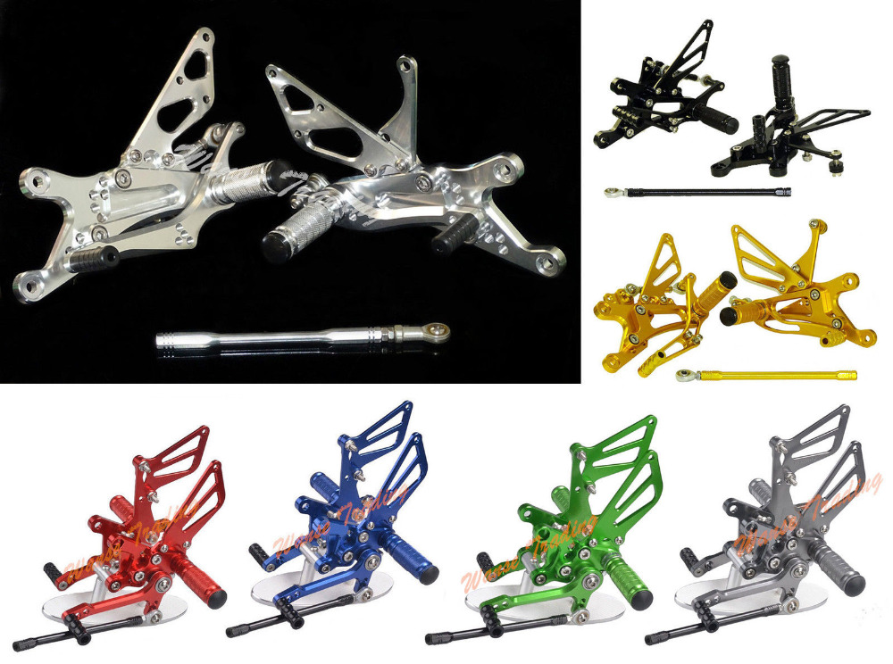waase CNC Adjustable Rider Rear Sets Rearset Footrest Foot Rest Pegs For Yamaha YZF R1 2004