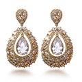Mulheres moda Brinco Cubic zirconia big drop Brincos banhados a ouro jóias wedding ladies brincos de preços por atacado remessa Livre