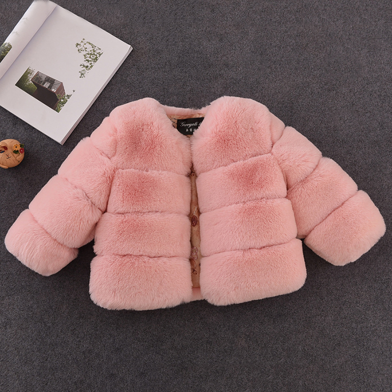 New Winter Girls Fur Coat Elegant Baby Girl Faux Fur Jackets And Coats Thick Warm Parka