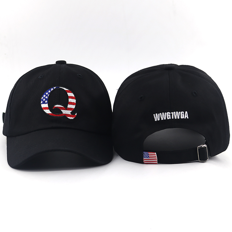 US $4 73 21% OFF|Q US Flag embroidery dad hat WWG1WGA on Back baseball cap  Trending American Political Great Awakening snapback hats-in Men's Baseball