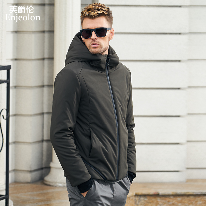 Enjeolon Brand Winter Cotton Padded Hooded Jacket Men Thick Hoodies Parka Coat Male Quilted Winter Jacket Coat 3XL MF0635