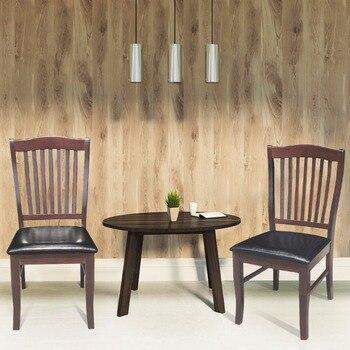 Conjunto Giantex de 2 sillas laterales de comedor de cuero PU asiento  tapizado trasero sin brazos cocina muebles para el hogar HW58880