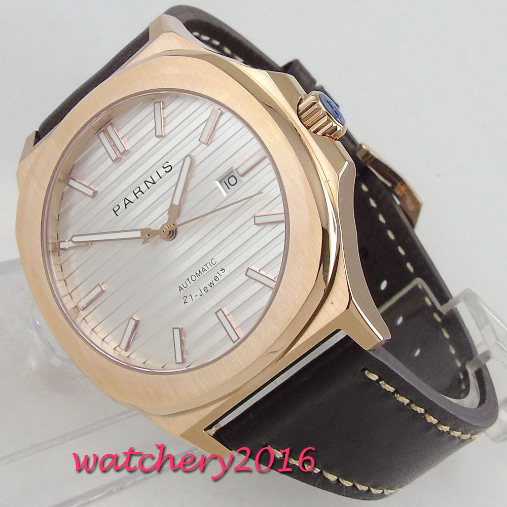 NEW Arrive 44mm PARNIS White Dial Dial Date Rose Gold Case Luminous Sapphire Luxury Brand Miyota Automatic Movement men's Watch все цены
