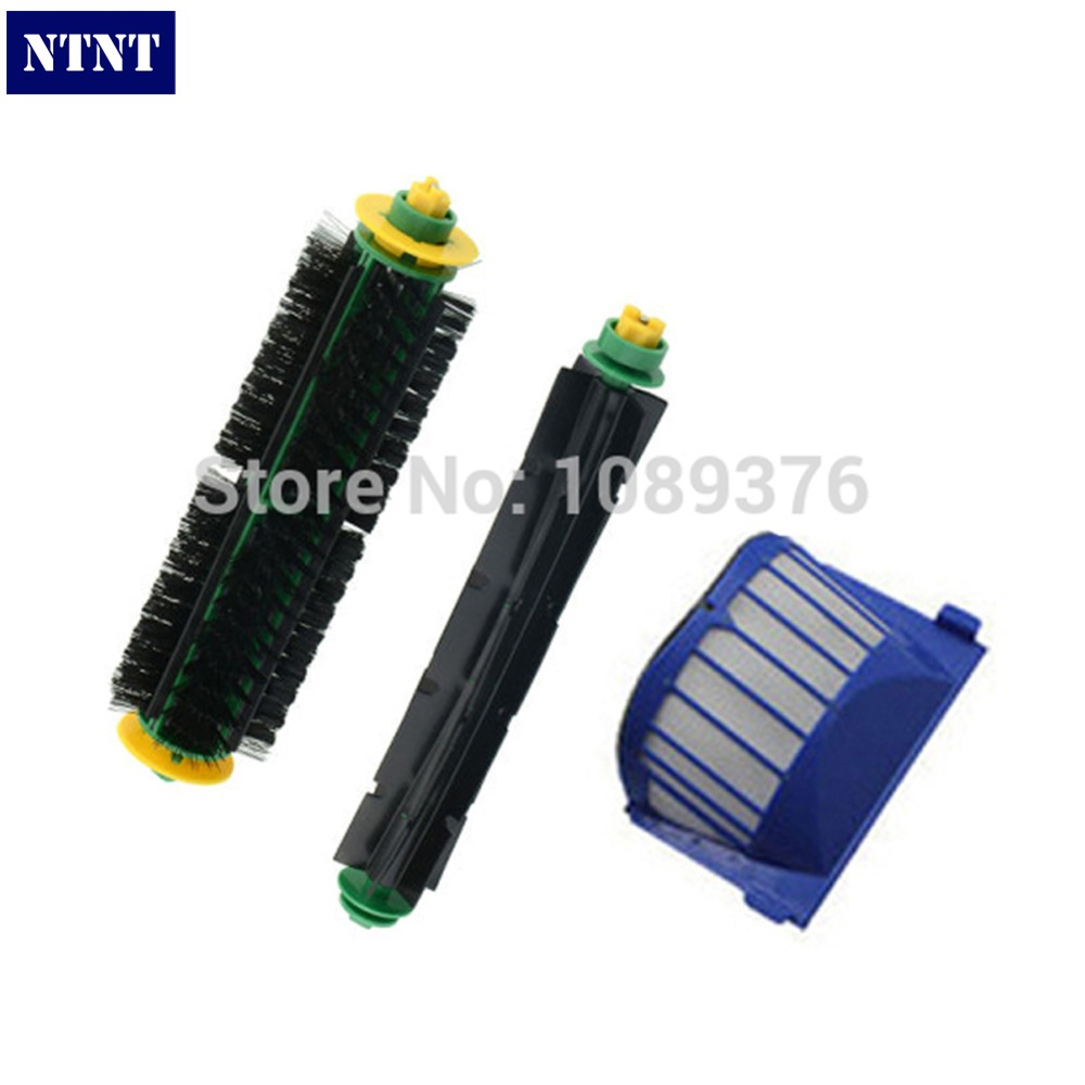 NTNT Free Shipping!1 Set Bristle Brush and Flexible Beater Brush+AeroVac Filter for iRobot Roomba 530 540 550 560 570 580 bristle brush flexible beater brush fit for irobot roomba 500 600 700 series 550 650 660 760 770 780 790 vacuum cleaner parts