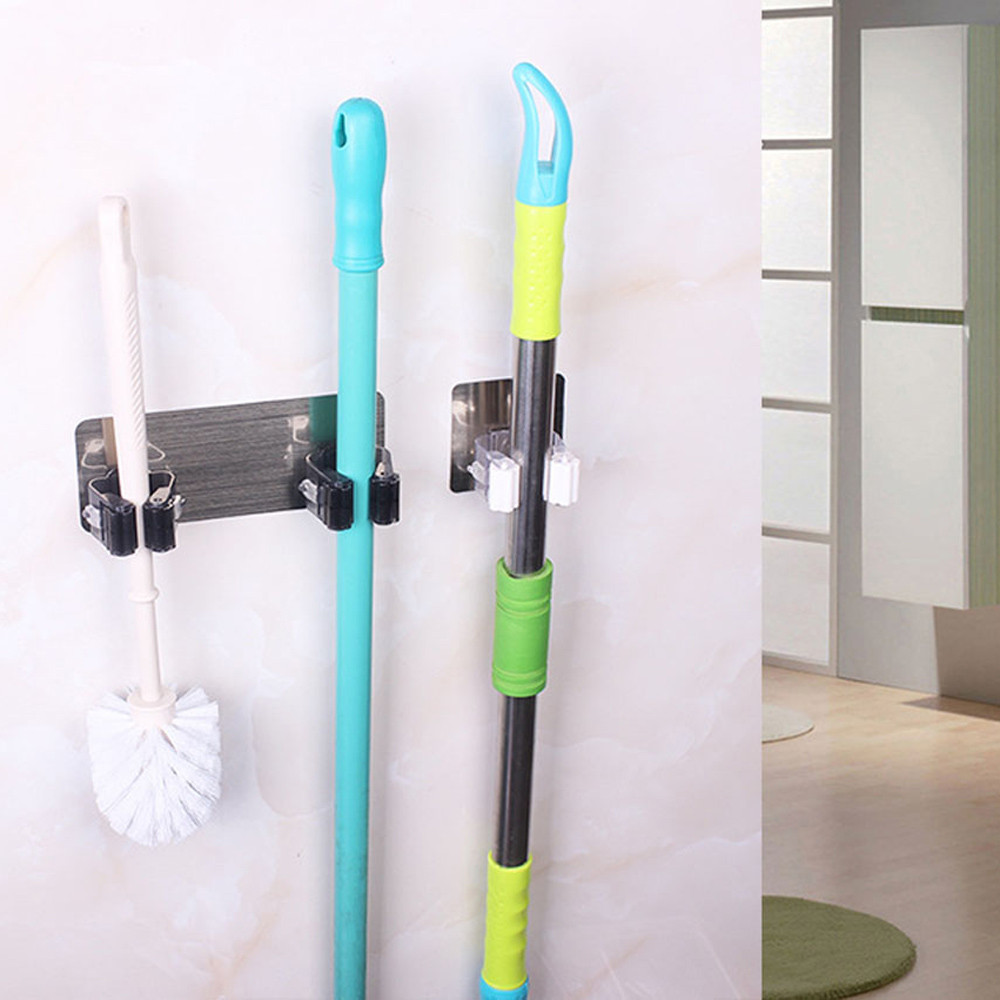 Image 2 - Hanger 2019 Wall Mounted Mop Organizer Holder Brush Broom Hanger Storage Rack Kitchen Tool-in Hooks & Rails from Home & Garden