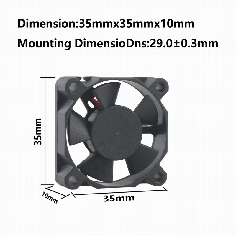 Купить с кэшбэком 1 Piece Gdstime 3.5cm 35mm x 10mm 12V 3510 Ball Bearing DC Brushless Micro Cooling Cooler Fan 3510 35x35x10mm