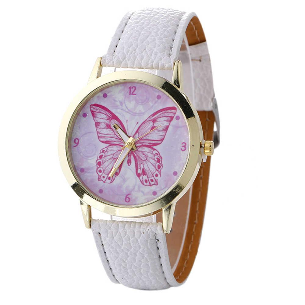 Бабочка лента, сиденье из искусственной кожи круглый циферблат кварцевые Для женщин арабскими цифрами наручные часы horloges mannen