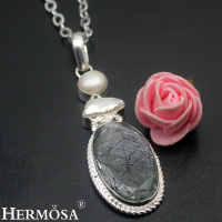 Hermosa Jewelry Trendy Glorious Black Rutilated Quartz Pearl Biwa Pearl 925 Sterling Silver Necklaces Pendants HF1781