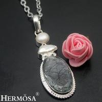 Hermosa Jewelry Trendy Glorious Black Rutilated Quartz Pearl Biwa Pearl 925 Sterling Silver Necklaces Pendants HF1781
