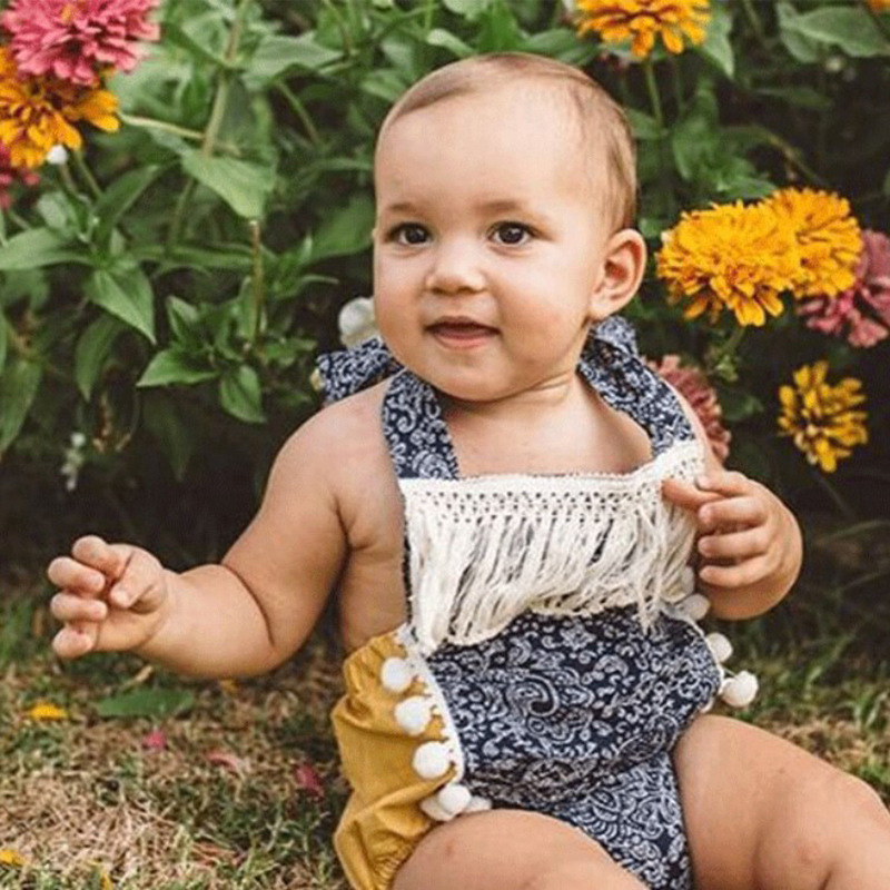 New Born Baby Clothes Tassel Romper Baby Off The Shoulder Yellow Short Funny Onesie Baby Backless Summer Clothes For Kids Girl