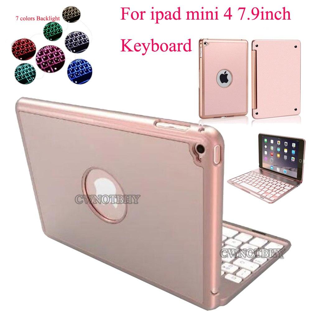 Pour iPad Mini 4 Rétro-Éclairé Sans Fil 4.0 clavier bluetooth 7 Couleurs Rétro-Éclairage Ultra Mince En Aluminium ABS Matériel A1538 A1550