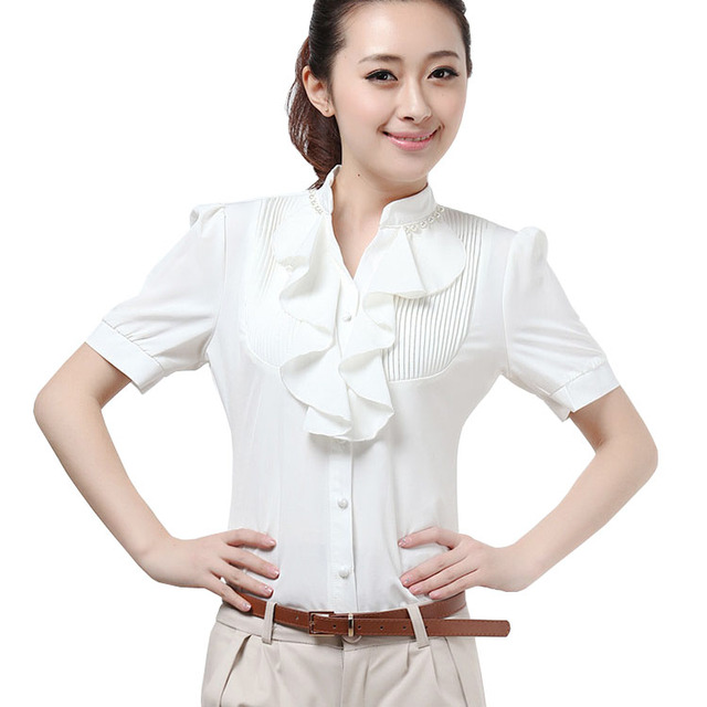 2017 Summer Tops For Women Short Sleeve Ruffles Front Blouses Lady