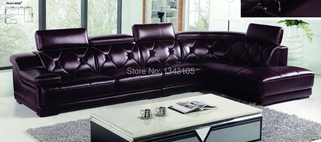 LBZ 006# Deep Purple Living Room Leather Sofas Large Corner Sofas