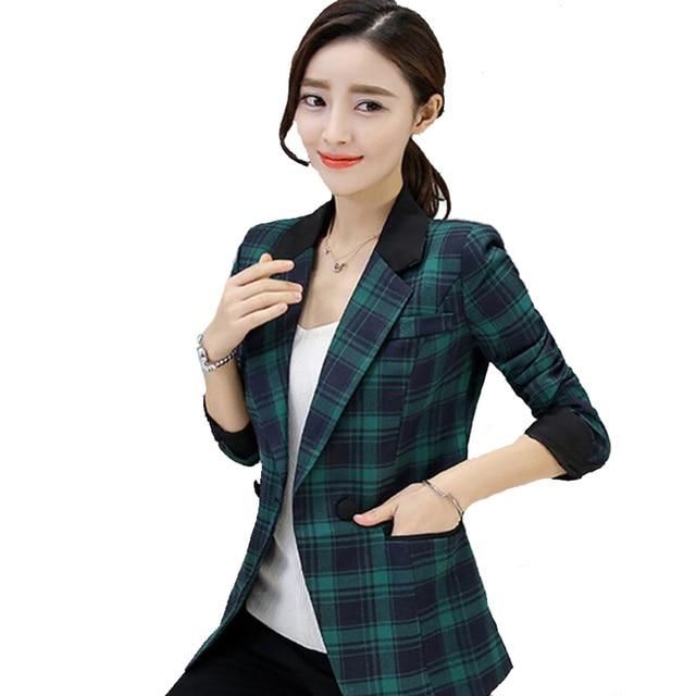 b803d1a1a26 M-3XL 2017 Spring Autumn ladies Blazers jackets Korean Slim Large Size  Small Suit Coat