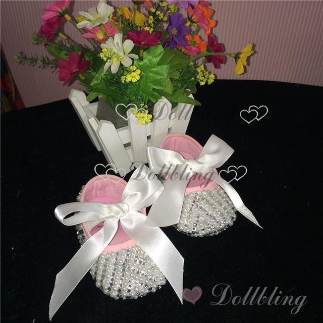Крещение Белый Ленты кружево лук Briades свадебное платье дизайнер Деревенский Украшенные жемчуг ручной детская обувь