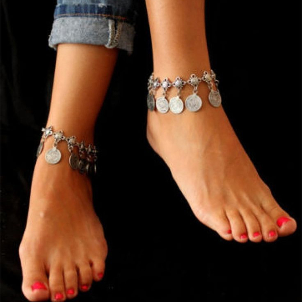 Bohemian vintage women charm anklet silver coin pendants summer beach lucky barefoot cha ...
