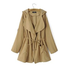 WT043 Womens trench coats 2018 Horean trench coat Hooded Belt middle long coat Solid High Waist thin trench coat for women S-XL cheap CINESSD Full Turn-down Collar Adjustable Waist Broadcloth Normcore Minimalist Polyester COTTON