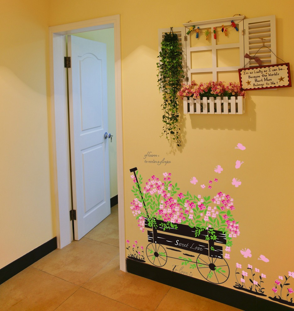 Beautiful Flowers grass bike sweet love garden decoration vinyl wall ...