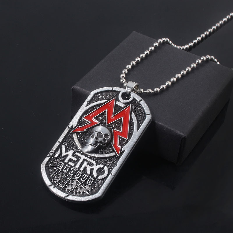 Game Metro Exodus 2033 Necklace Skull Logo <font><b>Dog</b></font> Tag Metal Pendant Necklaces For Women Men Cosplay Jewelry Gifts image