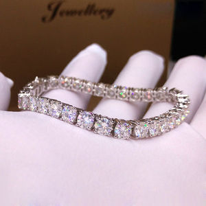 Trendy Style Solid 9K 375 White Gold 18 Carats ct 5mm DF Color Moissanite Diamond Bracelet For Women Test Positive(China)